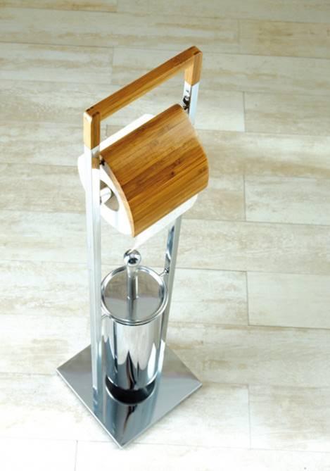 Koctas-0347 - Bambu klozet fırçası ve tuvalet kağıtlığı seti